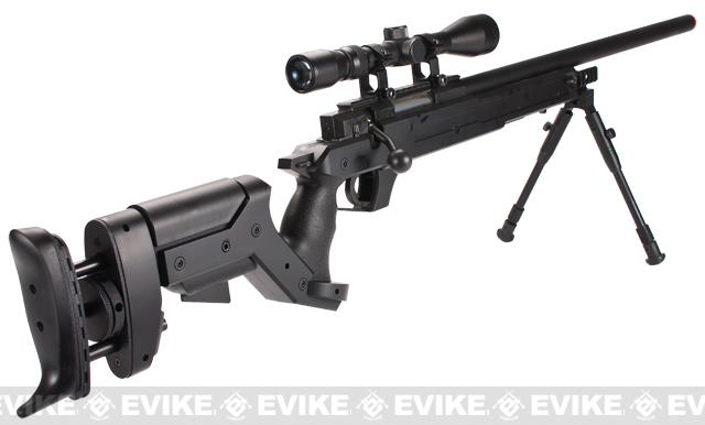 Matrix Shadow Ops MB05 SR-22 Tactical Airsoft Sniper Rifle w/ Adjustable Stock - Black (Package: Add 3-9x40 Scope + Bipod)