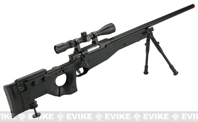 Matrix AW-338 MB08D Bolt Action Airsoft Sniper Rifle with Folding Stock by WELL - Black (Package: Rifle)
