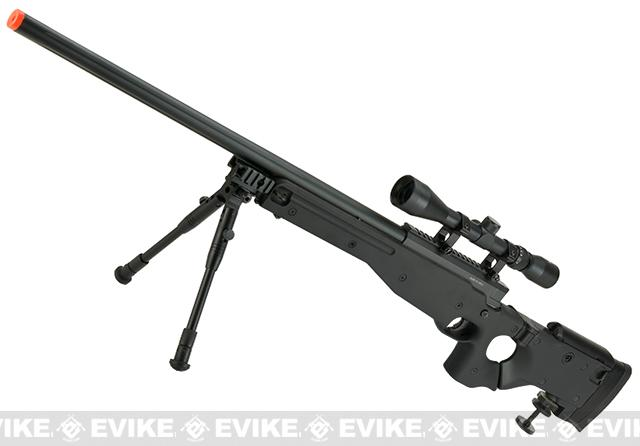 Matrix AW-338 MB08D Bolt Action Airsoft Sniper Rifle with Folding Stock by WELL - Black (Package: Add Bipod)