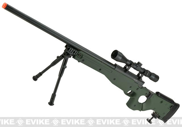 Matrix AW-338 MB08B Bolt Action Airsoft Sniper Rifle w/ Folding Stock by WELL- OD Green (Package: Add Bipod)