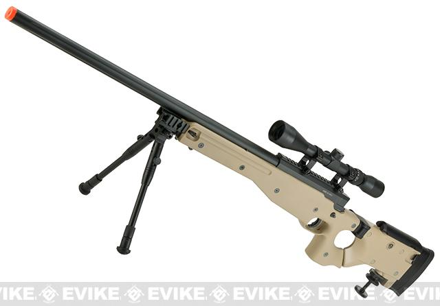 Matrix AW-338 MB08D Bolt Action Airsoft Sniper Rifle with Folding Stock by WELL - Desert (Package: Add 3-9x40 Scope + Bipod)