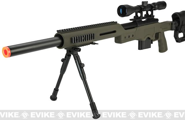 WELL MB4410D Bolt Action Airsoft Sniper Rifle - OD Green (Package: Add 3-9x40 Scope + Bipod)