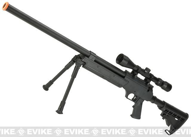 Matrix ASR SR-2 Shadow Op Bolt Action Airsoft Sniper Rifle w/ LE Stock & Bipod - Black (Package: Rifle & Bipod Only)