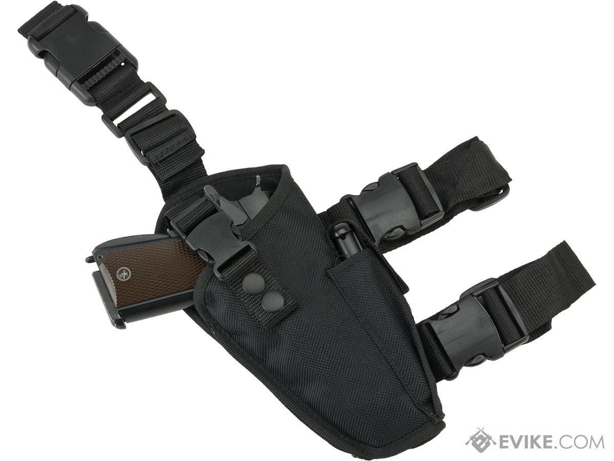 Deluxe Tactical Thigh Holster - Right Leg / Black
