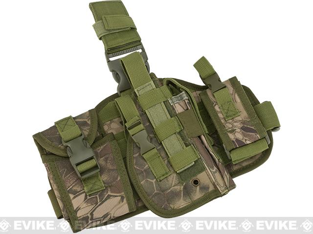 Matrix Drop Leg MOLLE Platform w/ Holster and Pouch Set - Woodland Serpent
