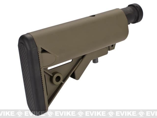Matrix 6-Pos. Crane Stock w/ Engraved Numbered Metal Buffer Tube for M4 Series Airsoft AEG - Dark Earth