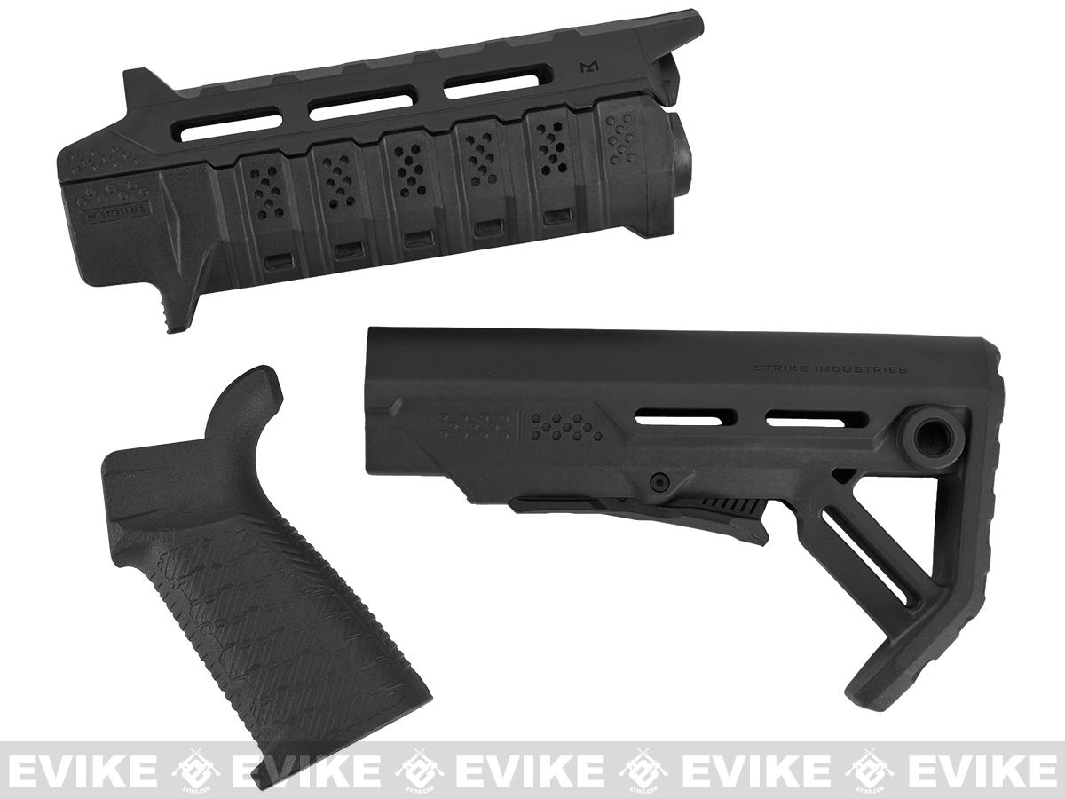 Strike Industries Carbine Length Polymer Furniture Package for Airsoft AEG Rifles - Black
