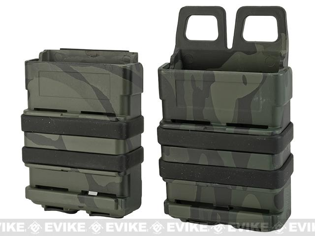 High Speed MOLLE Compatible Airsoft M4 Mag Carrier Set of 2 - Multicam Black