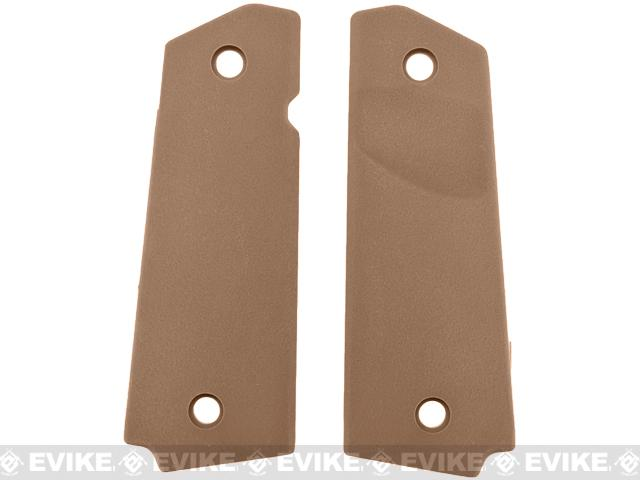 FMA Tactical Polymer Grip Panels for 1911 Airsoft GBB Pistols - Dark Earth