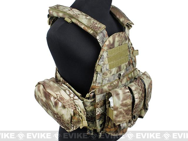 TMC Plate Carrier with 3 Pouches - Woodland Serpent