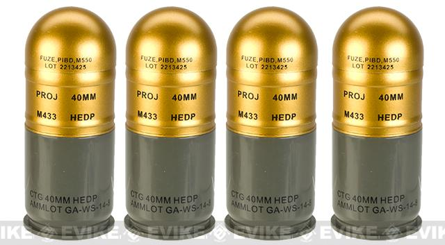 Matrix Airsoft M433 HEDP 40mm Dummy Grenade 4 Pack - HEDP Gold