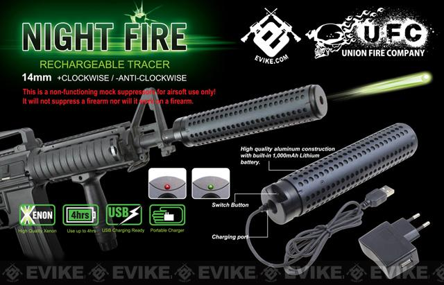Evike Night Fire Dual Sensor Airsoft Auto Tracer / Mock Silencer Barrel Extension - Negative