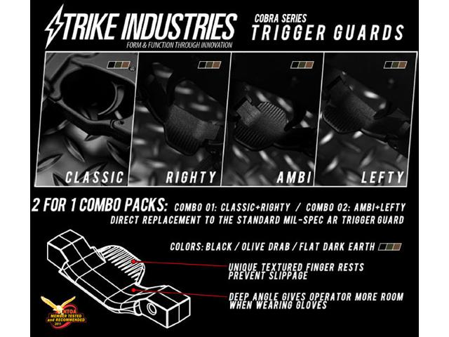 z Strike Industries Cobra Series Airsoft M4 / M16 / AR Trigger Guards (Lefty / Ambidextrous) - Dark Earth