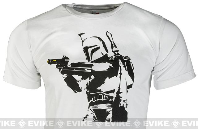 Salient Arms Mens Bobba Fett Cotton T-shirt - White (Size: Small)