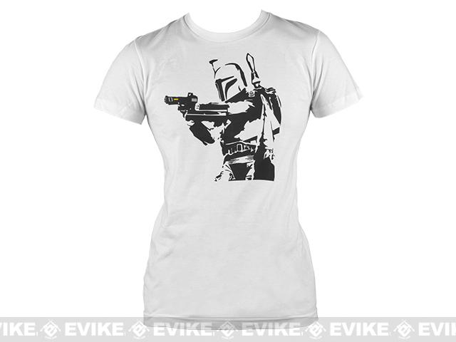 Salient Arms Womens Bobba Fett Cotton T-shirt - White (Size: Large)