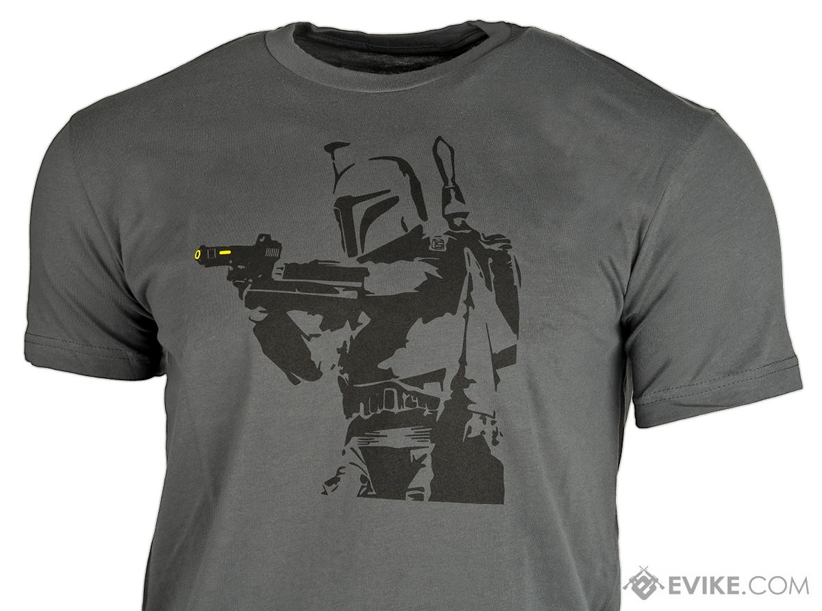 Salient Arms Mens Bobba Fett Cotton T-shirt - Grey (Size: Medium)