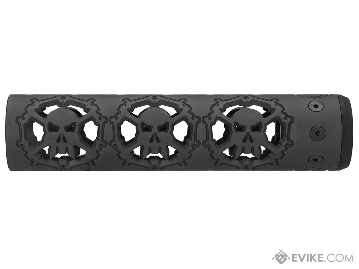 Unique ARs CNC Machined Skulls Handguard for AR15 Pattern Rifles (Color: Black / 9 / Rail Only)