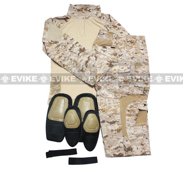 E Tactical Battle Uniform Set w/ Integrated Knee Elbow Pad (Digital Desert Marpat) - Large