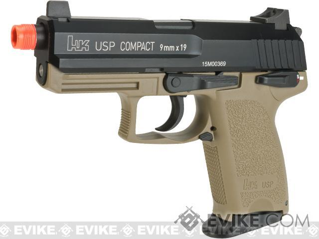 Heckler and Koch Full Metal USP Compact Tactical Gas Blowback Airsoft Pistol by Umarex - Flat Dark Earth