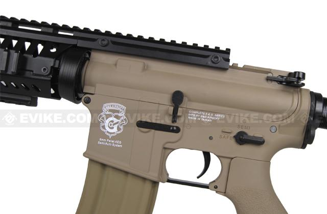 z Evike Custom Class I G&G Blowback Full Length Carbine Combat Machine Airsoft AEG - M1 RIS Tan (Package: Gun Only)