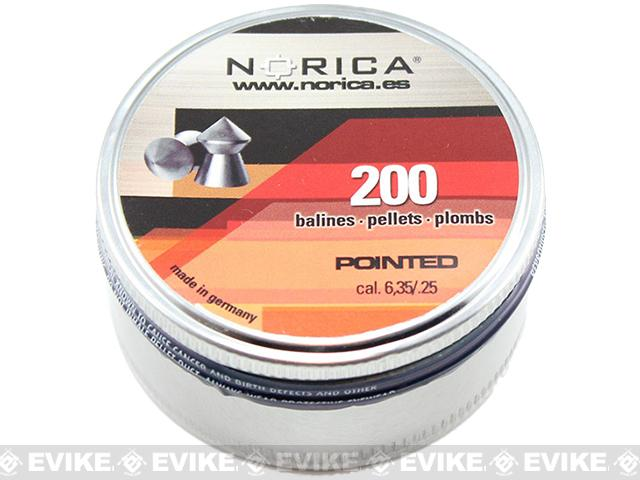 Norica .25 cal Pointed Pellets - 200 Count (FOR AIRGUN USE ONLY)