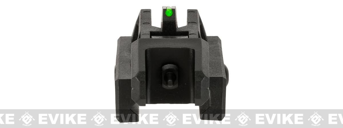 Valken Airsoft Polymer Flip-up Front Back-Up Sight with Fiber Optic Insert - Black