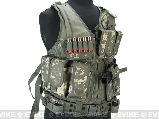 Matrix Special Force Cross Draw Tactical Vest w/ Built In Holster & Mag Pouches - ACU