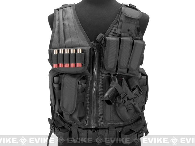 Matrix Special Force Cross Draw Tactical Vest w/ Built In Holster & Mag Pouches - Black