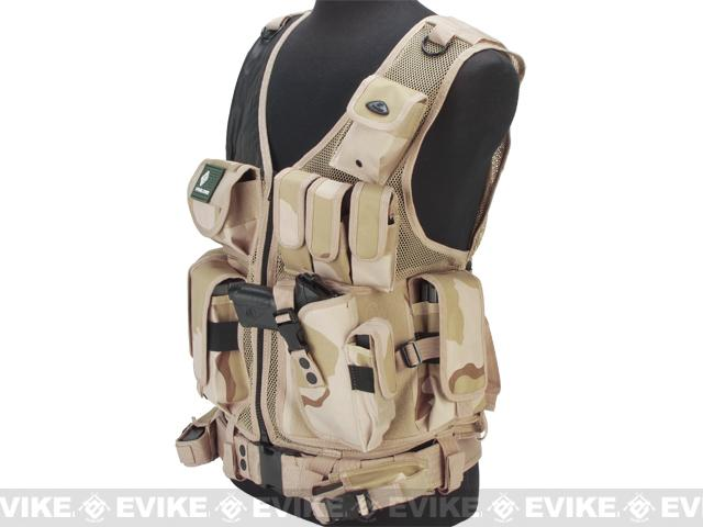 Matrix Special Force Cross Draw Tactical Vest w/ Built In Holster & Mag Pouches - Desert