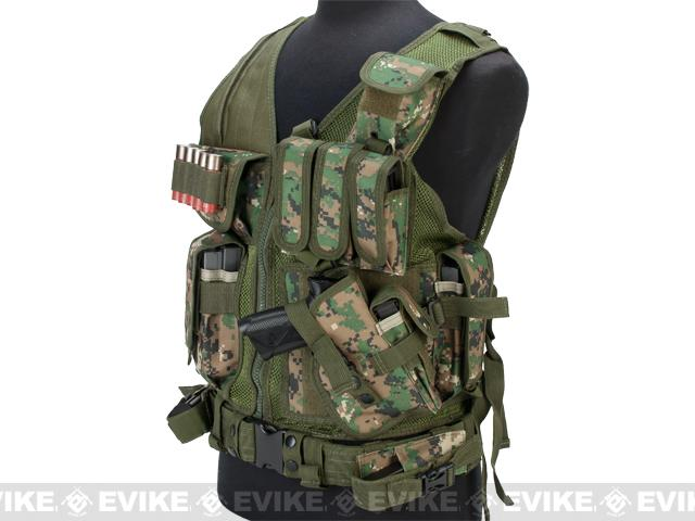 Matrix Special Force Cross Draw Tactical Vest w/ Built In Holster & Mag Pouches - Digital Woodland