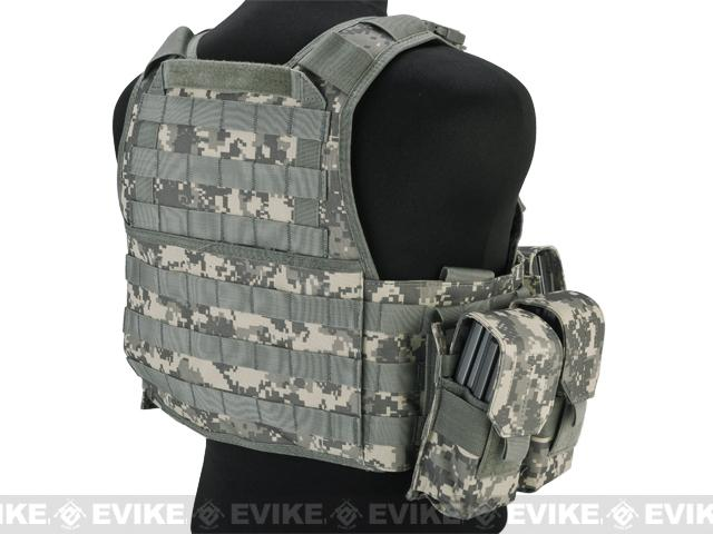 Matrix Medium Assault Plate Carrier Vest w/ Cummerbund & Pouches - Army ACU Camo