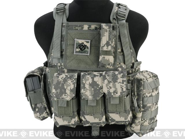 Lancer Medium Assault Plate Carrier Vest w/ Cummerbund & Pouches - Army ACU Camo