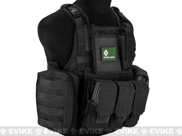 Matrix Medium Assault Plate Carrier Vest w/ Cummerbund & Pouches - Black