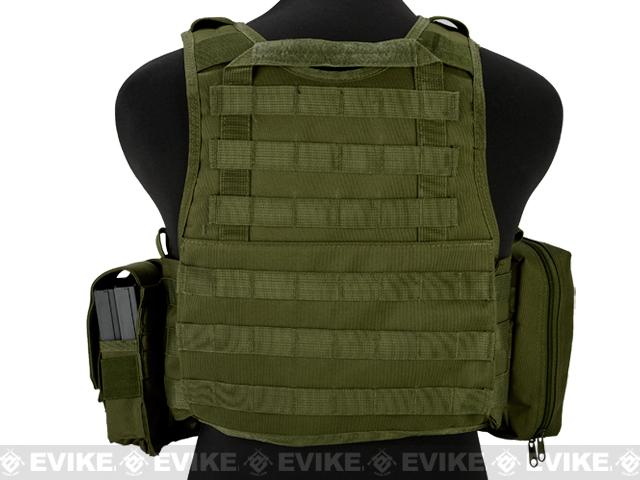 Matrix Medium Assault Plate Carrier Vest w/ Cummerbund & Pouches - OD Green