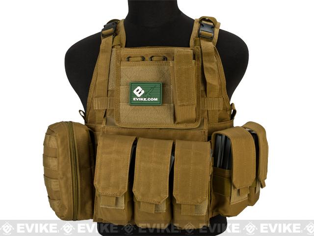 Matrix Medium Assault Plate Carrier Vest w/ Cummerbund & Pouches - Tan