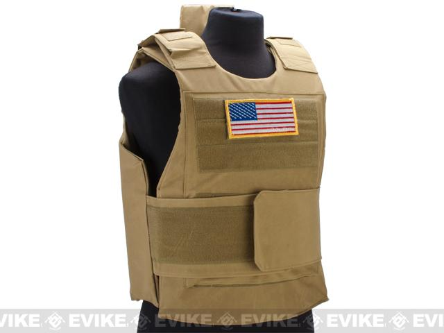 Matrix Delta Force Style Body Armor Shell Vest w/ US Flag Patch - Tan