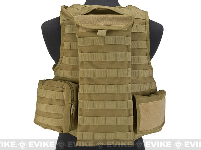 Matrix MEA Tactical Vest with M4 Magazine Pouches and Hydration Bladder - Coyote