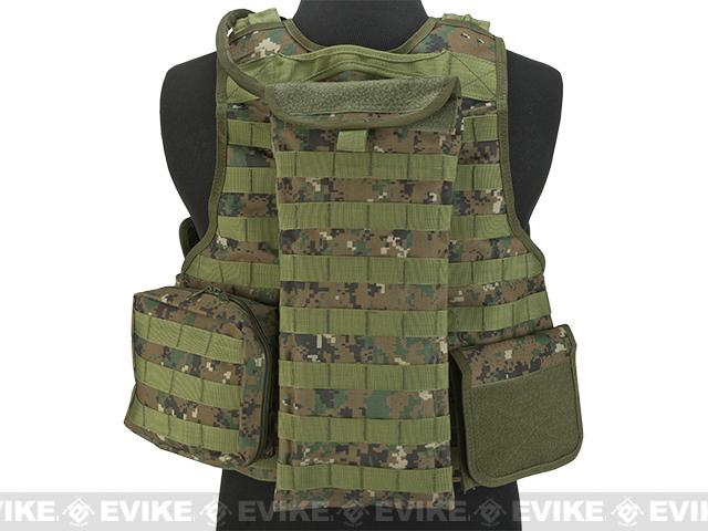 Matrix MEA Tactical Vest with M4 Magazine Pouches and Hydration Bladder - Digital Woodland