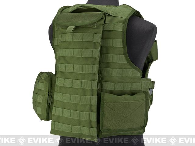 Matrix MEA Tactical Vest with M4 Magazine Pouches and Hydration Bladder - OD Green