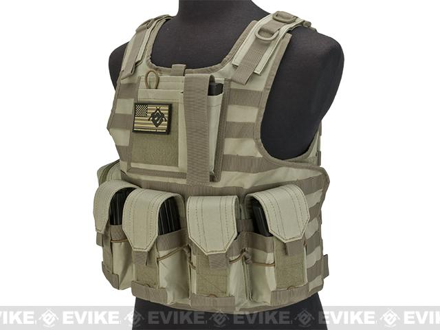 Matrix CIRAS Style Assault Plate Carrier Vest with Pouches - Tan