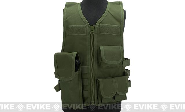 Matrix Childrens Size Tactical Zipper Vest w/ Integrated Magazine Pouches - OD Green