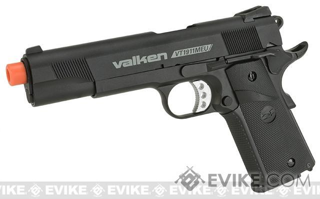 V Tactical VT1911MEU Metal Gas Blowback Airsoft Pistol w/ Hard Pistol Case by Valken - Black