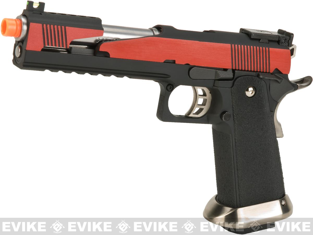 WE-Tech  7 Xcelerator Dragon Full Metal Hi-CAPA Airsoft Gas Blowback w/ Ext. Barrel - Red Slide