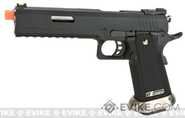 WE-Tech Hi-Capa 6 Competition Pistol - Black / Silver Barrel