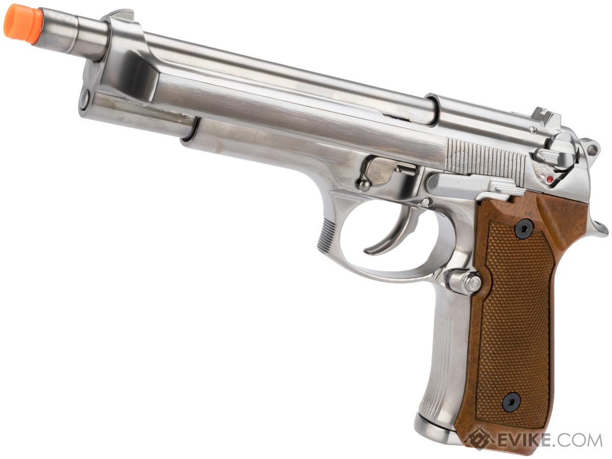 WE-Tech High Power Elite M9 PTP Airsoft GBB Pistol - Chrome / Wood