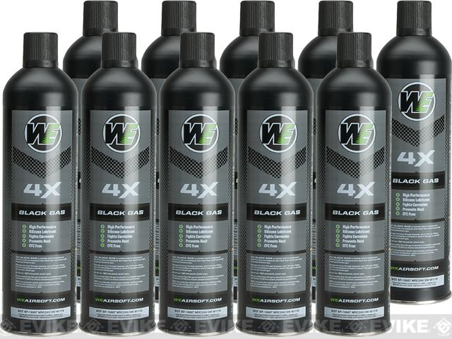 Airsoft Premium 4X High Performance Gas 10.5oz by WE (Qty: 10 Cans / Black)