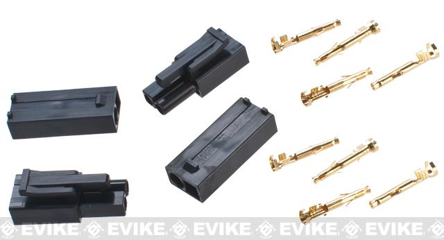 Prometheus Small Tamiya Plug Set with Gold Connector Leads for Airsoft AEG Rifles