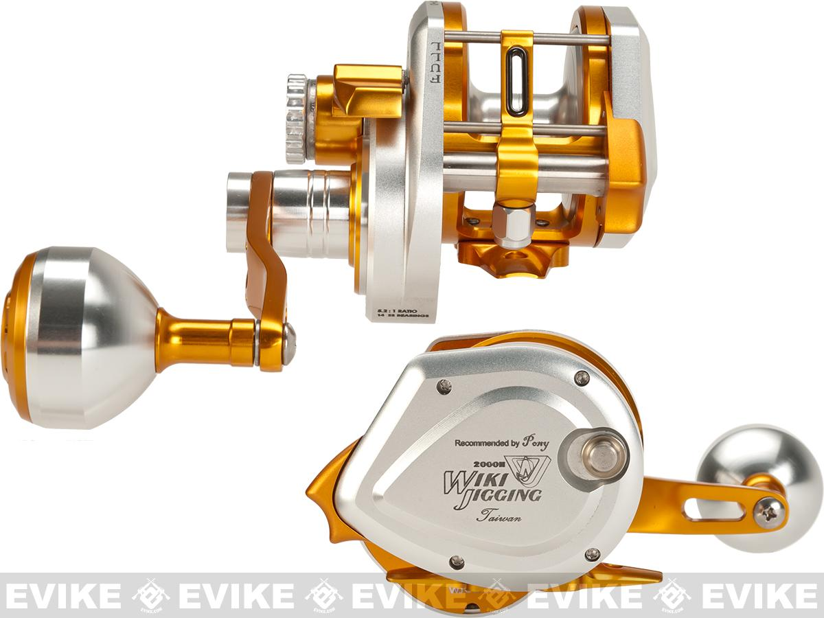 Wiki Jigging 2000H Lever Wind Fishing Reel w/ Automatic Line Guide (Model: Silver / Gold)