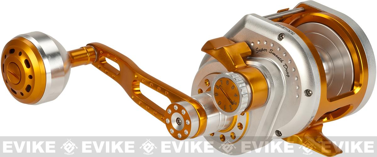 Wiki Jigging 2000H Lever Wind Fishing Reel w/ Automatic Line Guide - Silver/Gold (Left Hand)