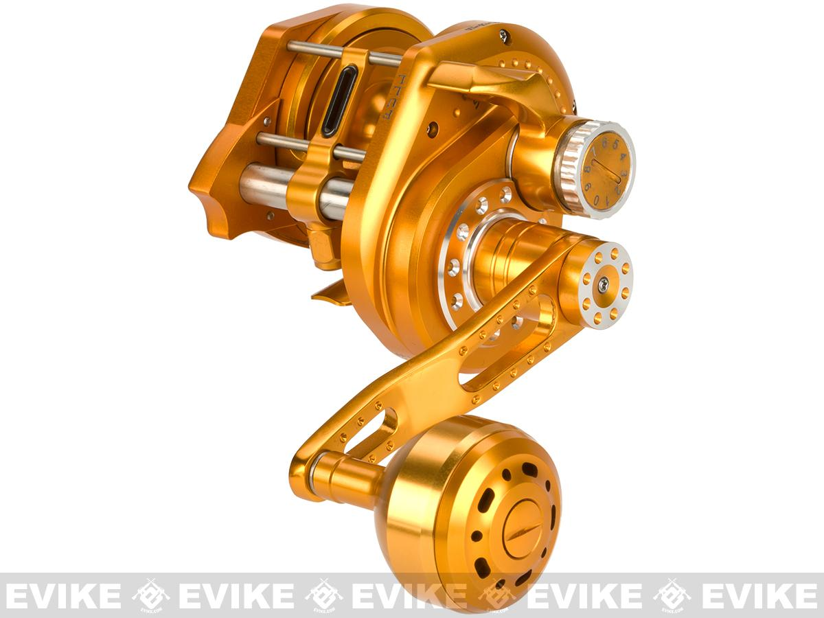 Wiki Jigging 2000H Lever Wind Fishing Reel w/ Automatic Line Guide - Gold (Left Hand)